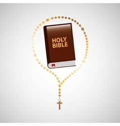 Catholic rosary and holy bible icon design vector