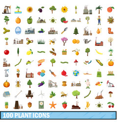 100 plant icons set cartoon style vector