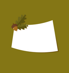 Greetings card with oak acorns vector
