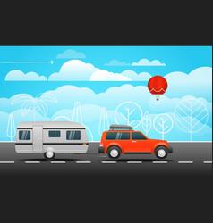 Car on the way vector