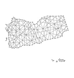 Map of yemen from polygonal black lines and dots vector