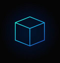 Cube blue icon vector