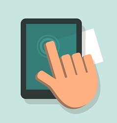 Hand touching a digital tablet vector