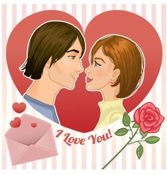 Young couple in a red heart eps10 vector