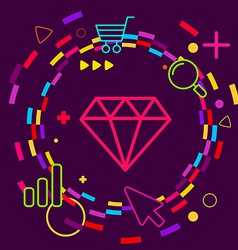 Diamond on abstract colorful geometric dark vector