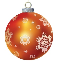 Xmas orange glass ball decorated by snowflakes vector