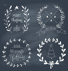 Christmas design elements and lettering vector
