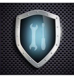 Metal shield with the image of the tool vector