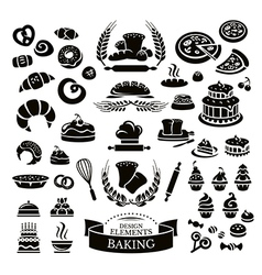 Set of bakery design elements and icons vector image