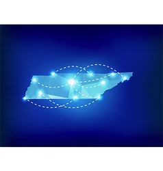 Tennessee state map polygonal with spot lights vector