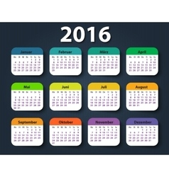 Calendar 2016 year german week starting on monday vector