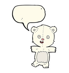 Cartoon cute polar bear cub with speech bubble vector
