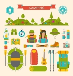 Set of camping and hiking equipment vector