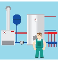 Plumber and boiler room in the background vector