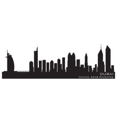 Dubai emirates skyline detailed silhouette vector