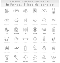 Fitness and health ultra modern outline vector