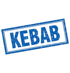 Kebab blue square grunge stamp on white vector