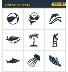 Icons set premium quality of rest on the ocean vector