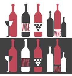 set of on wine theme vector image