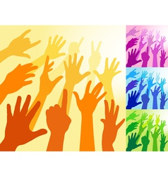 a collection of hands and raised arms shapes vector image