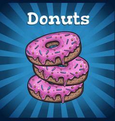 banner with donuts vector image