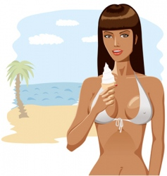 Bikini girl with ice-cream 04 vector image vector image