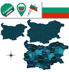 Bulgaria map with named divisions vector