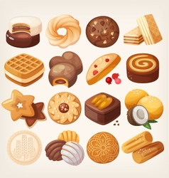 Cookies and biscuits icons set vector image vector image