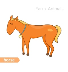 Cute cartoon horse with horseshoe isolated vector