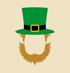 face symbol of leprechaun with green hat vector image vector image