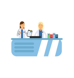 female doctor with paper tablet and pen in hands vector image