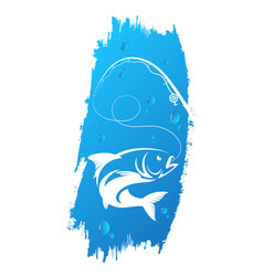 Fish and fishing rod on a wave background vector