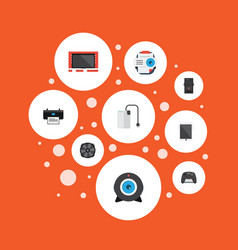 Flat icons cooler presentation system unit and vector