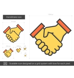 Handshake line icon vector
