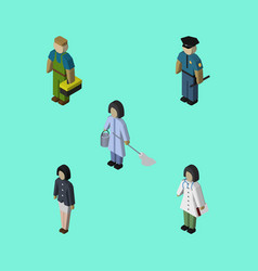 isometric person set of officer plumber girl and vector image