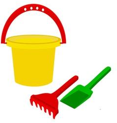 Kids bucket with rake and shovel vector image