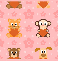 Seamless background card with funny animals vector
