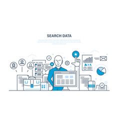 search data analysis and study of sources vector image