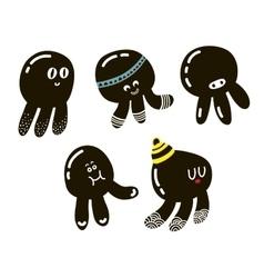 Set of cute black octopuses vector