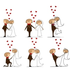 Set of groom and bride with flying hearts vector
