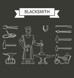 Set of icons of linear blacksmith vector