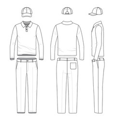 set of male golf suit vector image vector image