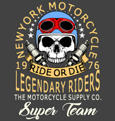 Skull t shirt motorcycle graphic design vector