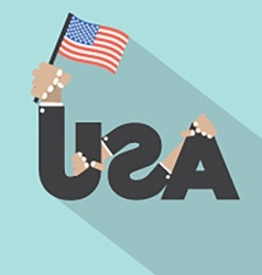 USA Typography With Hands And Flags Symbol Design vector image vector image