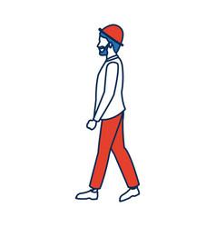 Walking bearded man wearing the hat vector