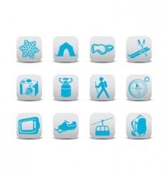 winter camping ski icons vector image