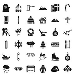 winter gift icons set simple style vector image vector image