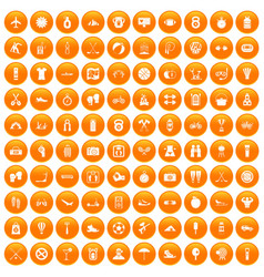 100 active life icons set orange vector