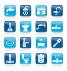 Plumbing objects and tools equipment icons vector