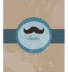 Moustache background invitation vector